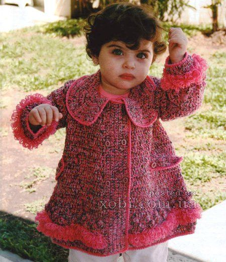 вязаное меланжевое детское пальто