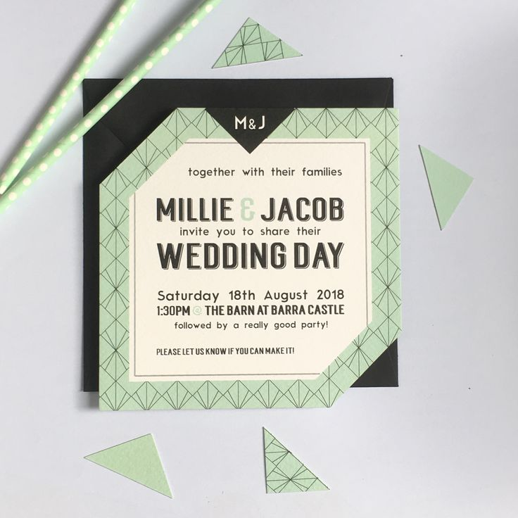 Customisable geometric print mint wedding invitation with black envelope by Paperoo