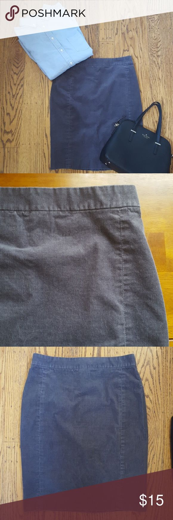 🍁🍂 J Crew Gray Corduroy Pencil Skirt 2 Cute fall basic for your capsule wardrobe. Back zip and slit. Laid flat measures 14 inches across waist and 21 inches long, 18 inches across hips. Second picture shows best color representation. Good preowned condition. There is some slight variation in the color throughout. J. Crew Skirts Pencil