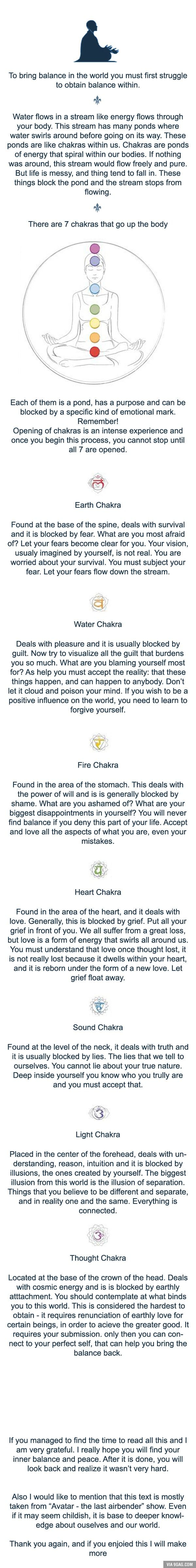 "Basic knowledge about your chakras and how to open them. Text from ""Avatar - the last airbender"""