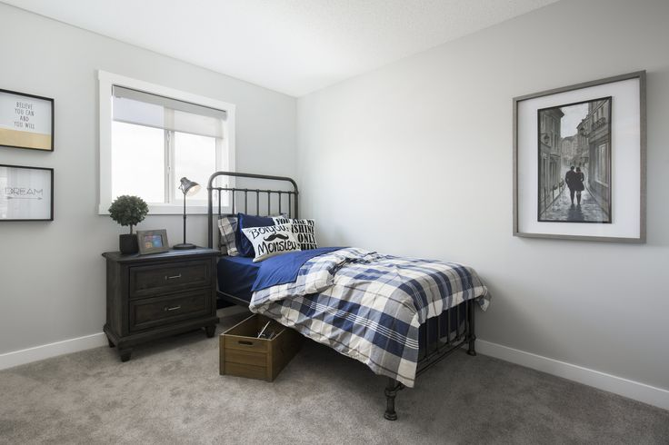 Secondary bedroom in Creations by Shane Homes Samara Showhome in Midtown in Airdrie #bedroom