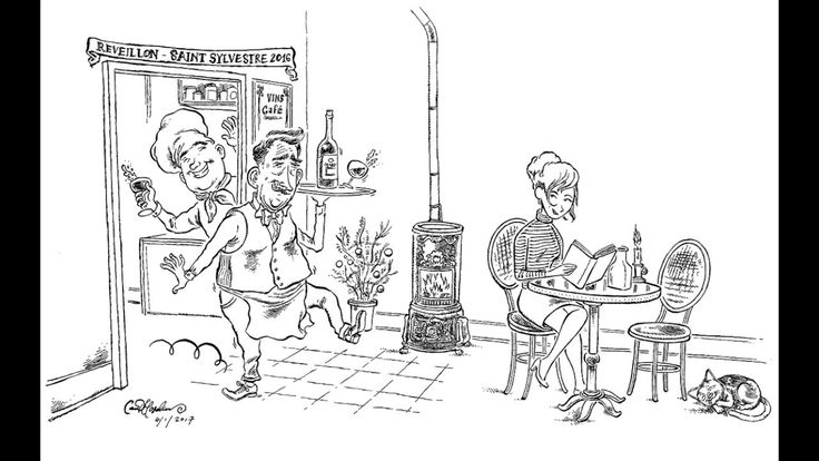 Drawing Cartoons: Lady in French Cafe