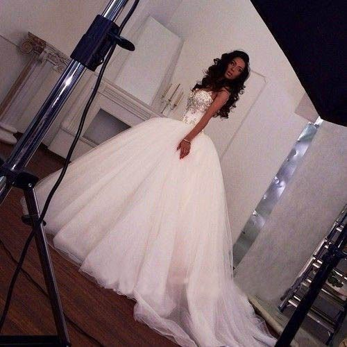 white/Ivory Lace Beading Long Wedding Dress Ball Gown Formal Bridal Gowns Custom