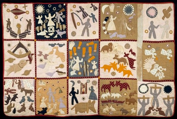 Pictorial quilt  Crafted by Harriet Powers (American), between 1895 and 1898. Cotton plain weave, pieced, appliqued, embroidered, and quilted, 68.9 in x 105 in.  Museum of Fine Arts, Boston, United States