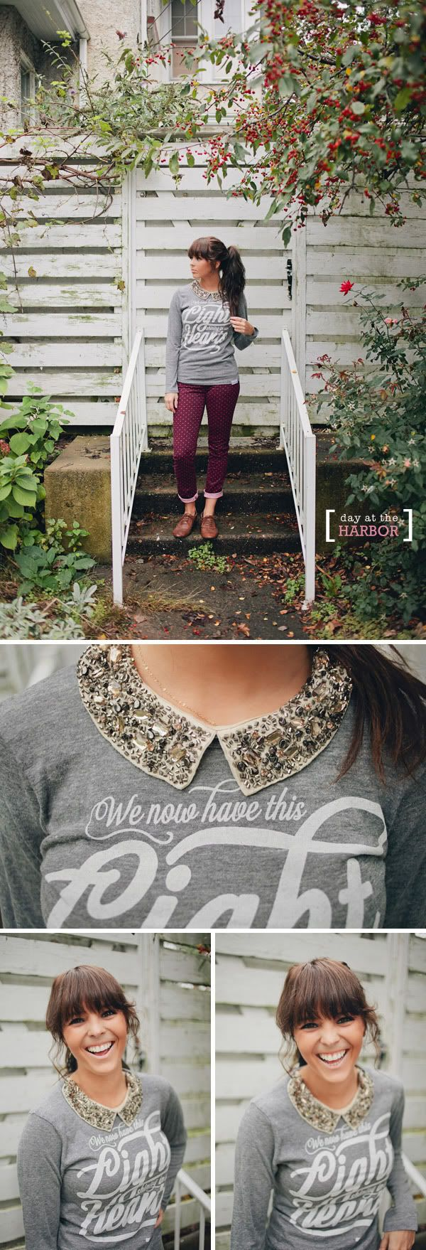walk in love. // T-Shirt Fashion // Women's Fashion // Harbor // Day Trip // Outfit Of The Day // How To Wear It // Collar // Chunky Necklace // Long Hair // Pony Tail