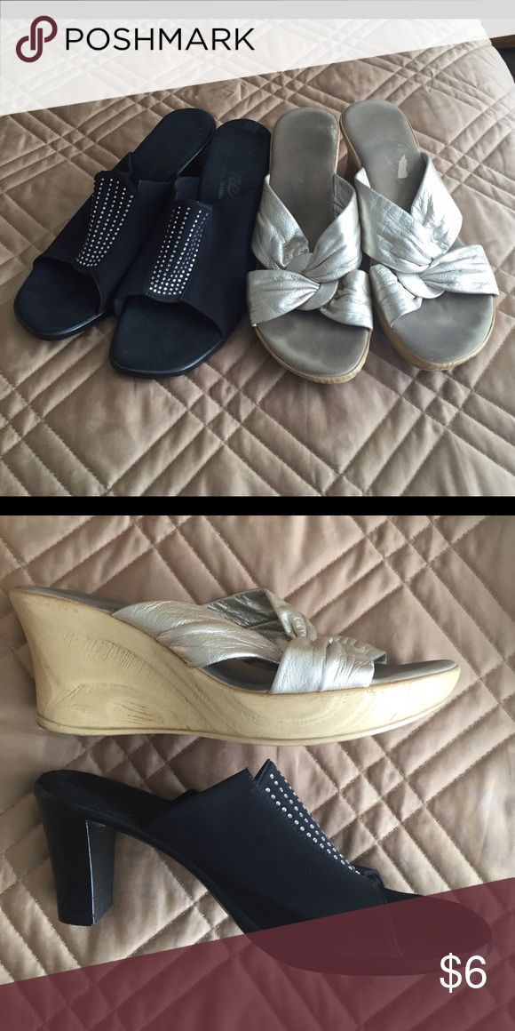 2 pair Onex shoes Two pairs. One pair black elastic top with sparkle trim, and the other old gold soft leather like top. Onex Shoes Wedges