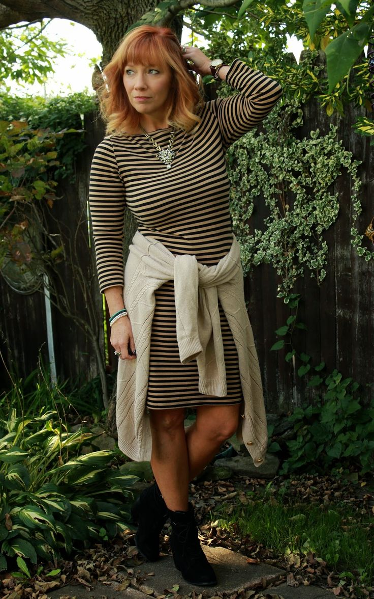 Fashion Fairy Dust: The Official Farewell: Striped Dress, Cable Knit Cardigan And Black Ankle Booties