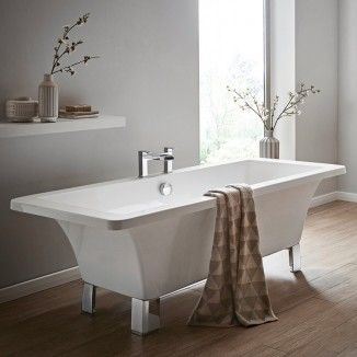 The Athena 1700mm free-standing bath carries a contemporary design constructed from double-skinned acrylic and modern chrome feet.  Tap holes are undrilled allowing you free choice over your tap style.