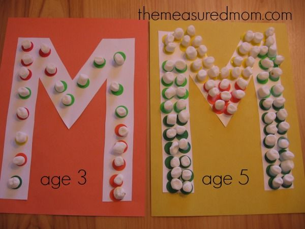 Letter M Marshmallow Dots. Cute! 10 letter m crafts for kids. {Measured Mom}