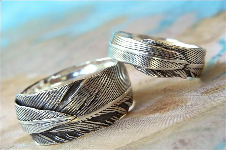 Engagement Rings For Couples - Fine Silver Leaf Handmade Rings