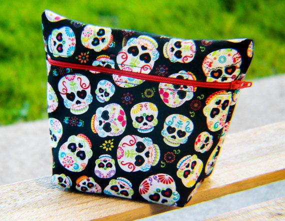 Sugar Skull Day Of The Dead Makeup/ Bag Toiletry by CasualCotton