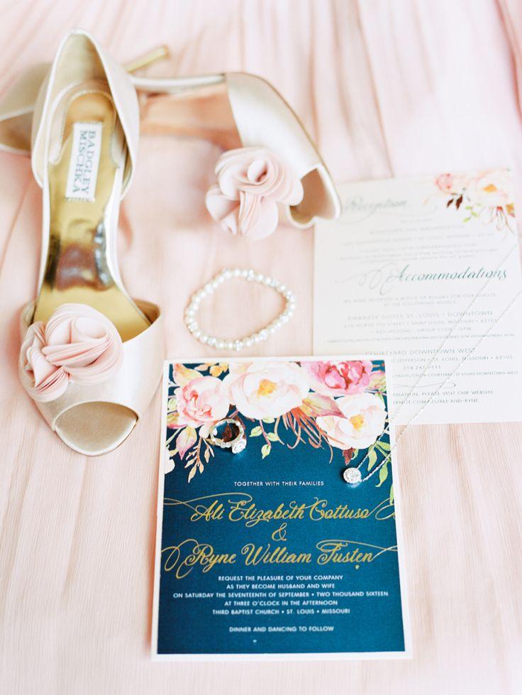 Blush and navy wedding invitation Elegant Navy