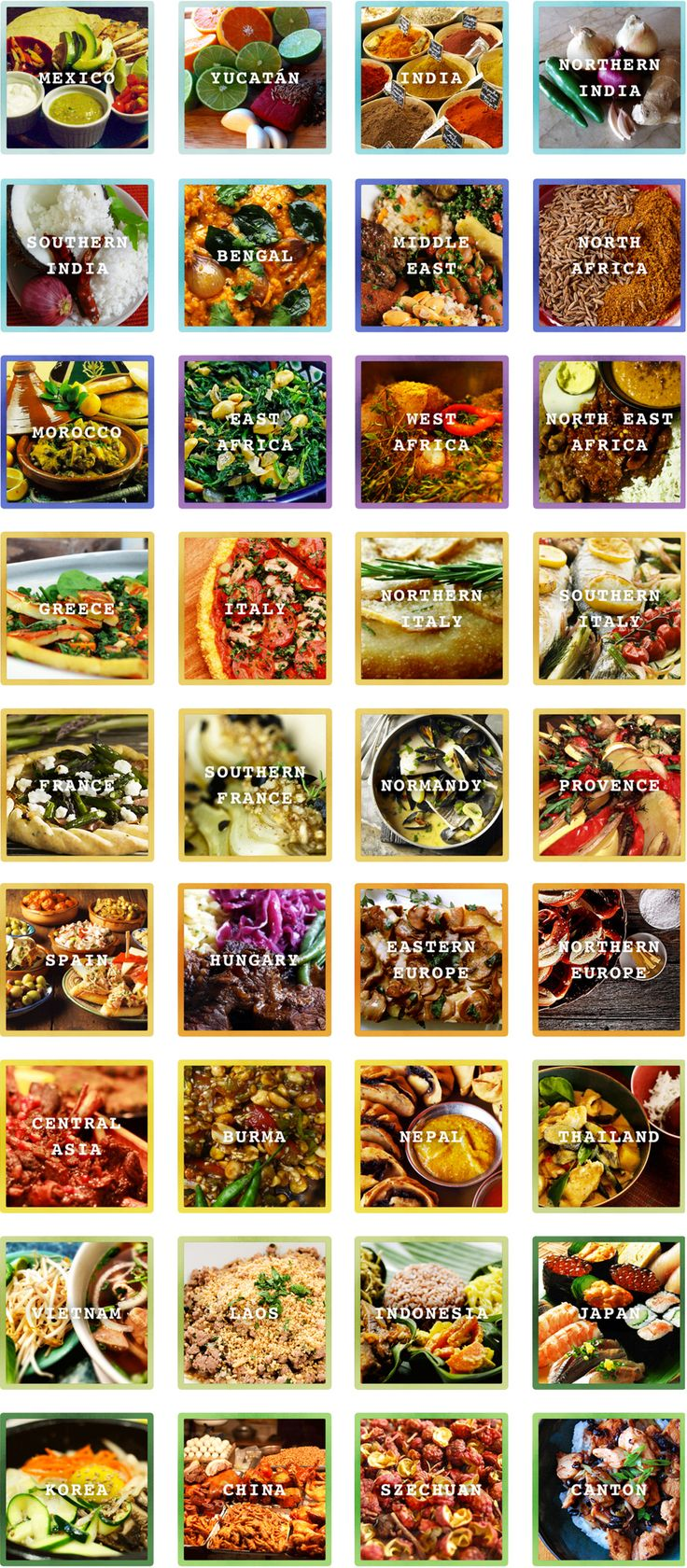 A World Map of Flavors - 36 Regions, 36 Herb and Spice Combinations (via fourhourworkweek.com) - another gem from Tim Ferriss