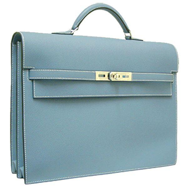 Brand New Hermes Kelly Depeches HKD34 Calfskin Leather Silver Hardware Light Blue Briefcase