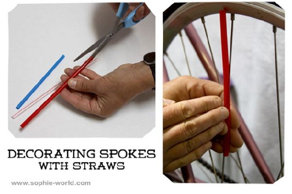 Decorating bike spokes with straws - Bikes Away! 10 Parade-Ready Ideas for the Fourth of July - ParentMap