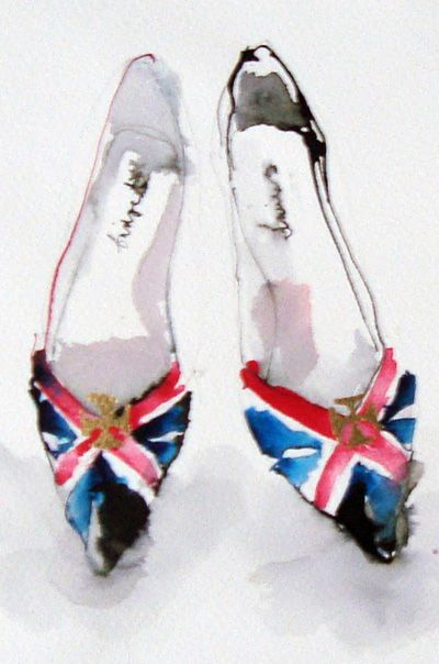 Union Jack Shoes, Bridget Davies, watercolor Shoes and Frills
