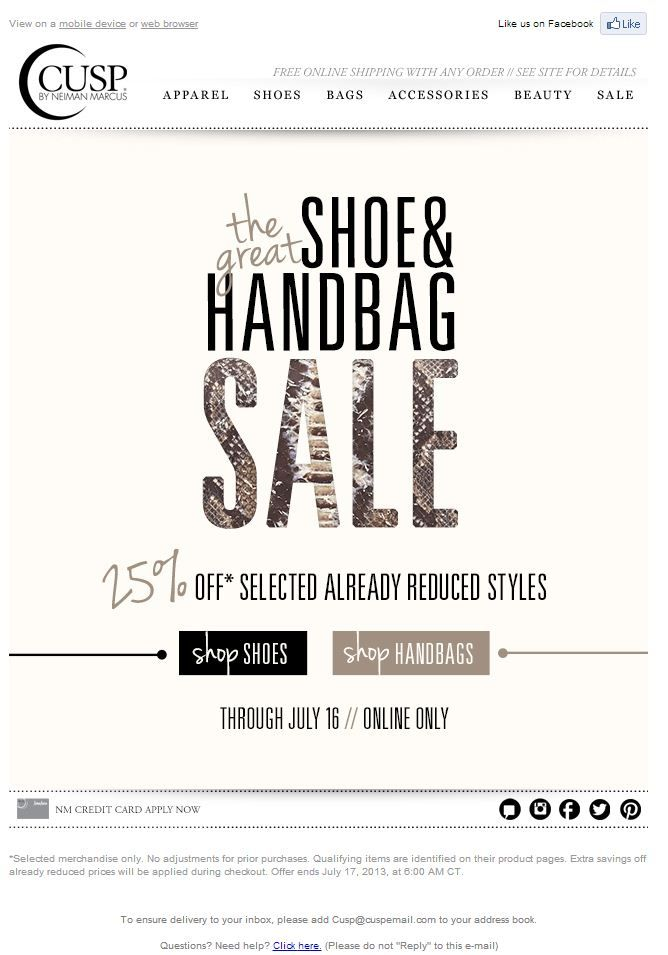 Sale Email Blast Design - CUSP by Neiman Marcus