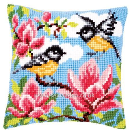 Buy Tits and Magnolia Cushion Front Chunky Cross Stitch Kit online at sewandso.co.uk