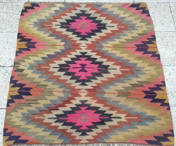 3.5x3.5 FT/ VINTAGE Handwoven Yellow Pink Green Brown Black Color Zigzag Design Square Turkish Kilim Rug,Antique Wool Floor Kilim Rugs