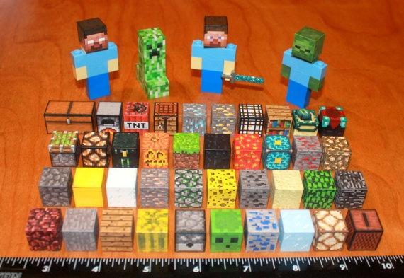 Custom Minecraft Lego Steve Creeper Diamond Sword