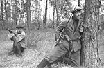 Soviet partisan fighters behind German front lines in Belarus, 1943.