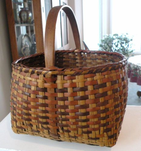 9in tall (including handle) x 5in deep (basket)..Antique Cherokee Indian River Cane Egg Basket w/ Oak Handle, Awesome Patina