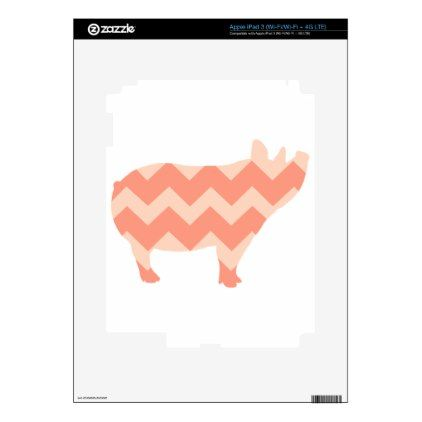Cute Coral Chevron Pig iPad 3 Decal - girly gifts special unique gift idea custom