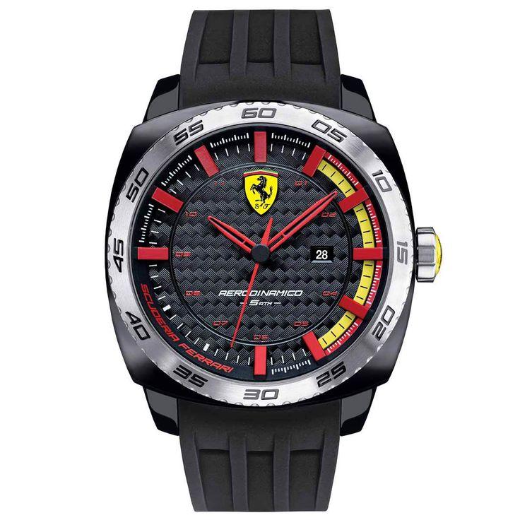Ferrari 830201 Men's Aerodinamico Black Carbon Fiber Dial Black Silicone Strap Watch - Discount Watch Store