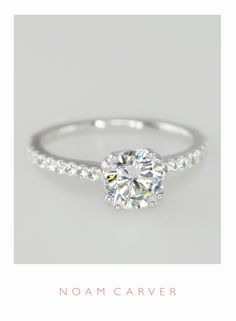 A classic solitaire for a classic bride. Designer engagement rings by Noam Carver - model B001-01