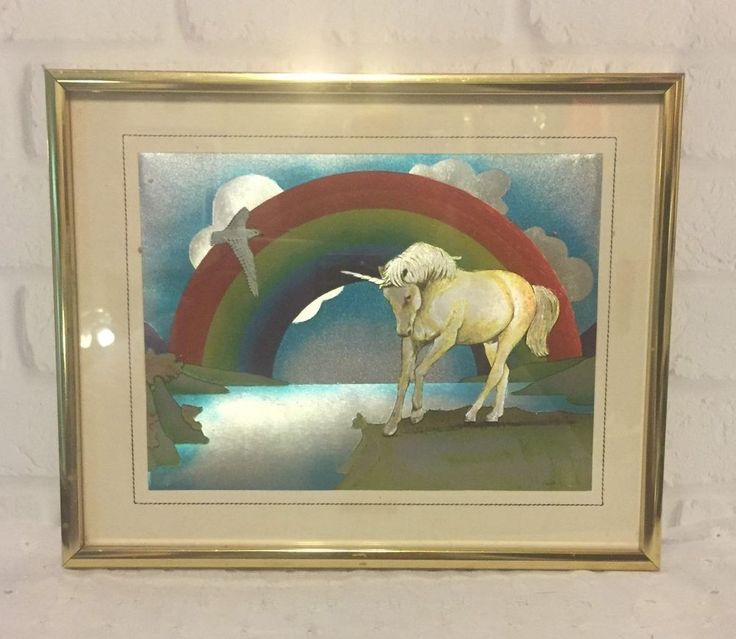 Vintage Dufex Foil Print Rainbow Unicorn Made in England FRAMED #PopArt