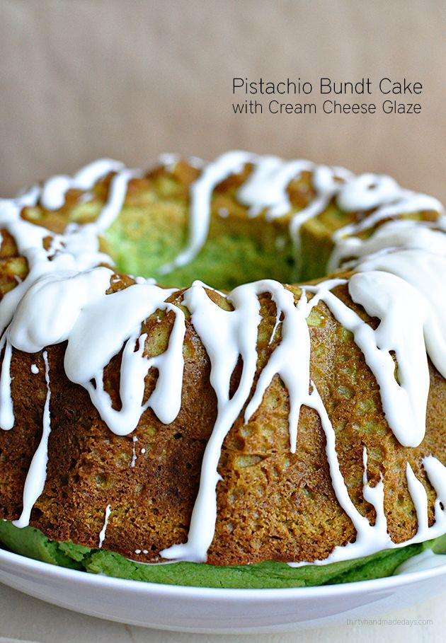 Light & delicious Pistachio Bundt Cake with Cream Cheese Glaze. You can use this recipe as a base for all kinds of flavors too!