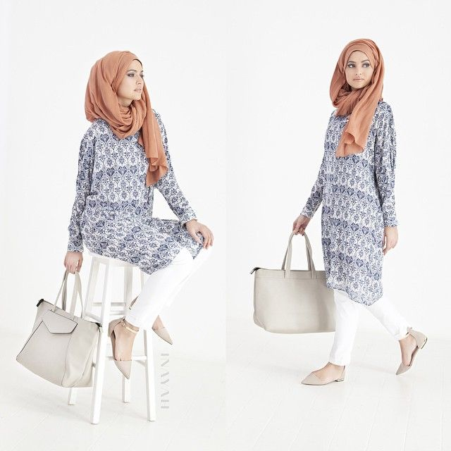INAYAH | Blue Regal Midi #Dress + Apricot Modal #Hijab www.inayahcollection.com