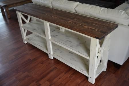Console Table   Do It Yourself Home Projects from Ana White Garage, ideas, man cave, workshop, organization, organize, home, house, indoor, storage, woodwork, design, tool, mechanic, auto, shelving, car.