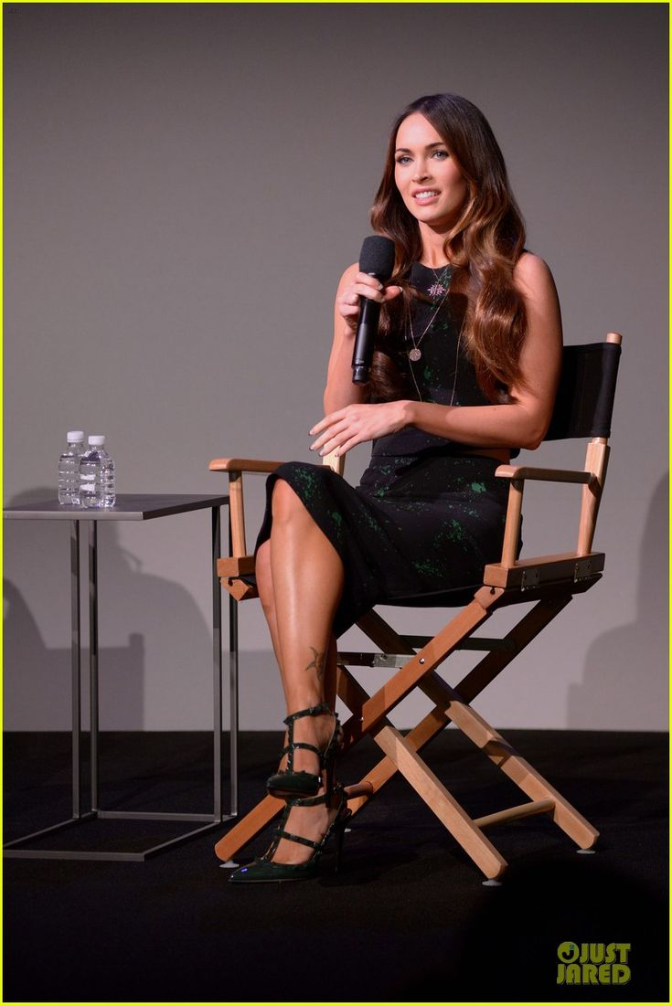 Megan Fox in a A.L.C. top and skirt, Valentino shoes and Astley Clarke pendant.