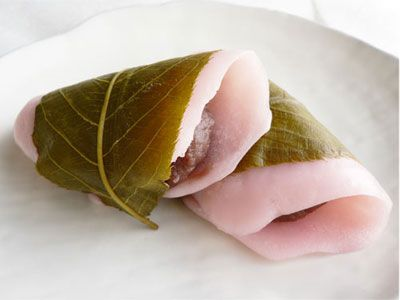 Sakura-Mochi, a Japanese Cake with salted cherry leaves.