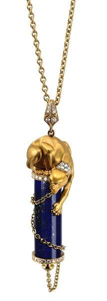 Diamond & Lapis Lazuli Necklace - Magerit - Babylon collection
