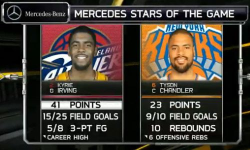 Informational graphic from the NBA showing two players, Kyrie Irving Vs Tyson Chandler stats.