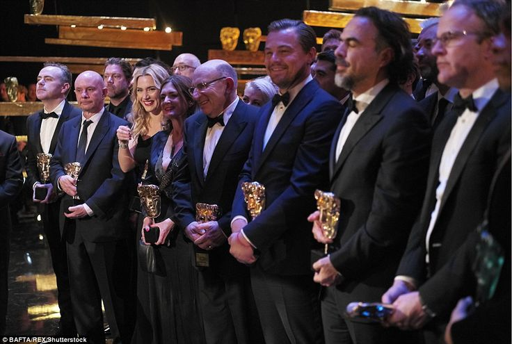 Full line-up: Kate couldn't contain her glee as she posed alongside her fellow award-winners at the awards