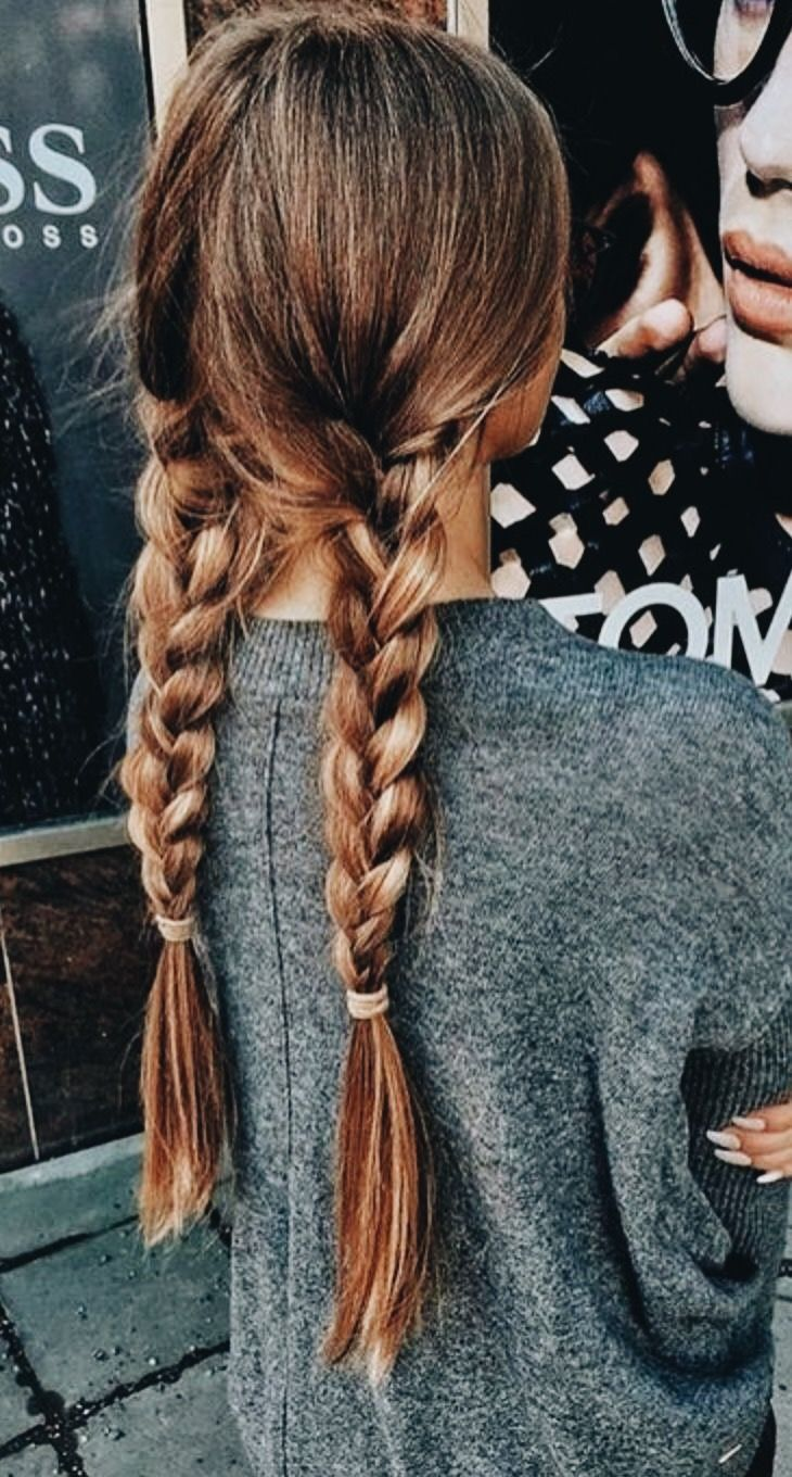 Braided Pig Tails Long Hair Styles Thick Hair Styles Hair Styles
