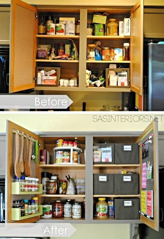 Great organization tips for storage on the inside of kitchen cabinets.