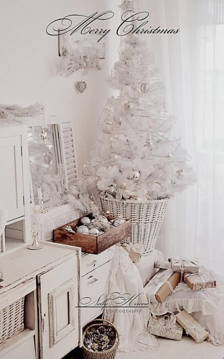 Beautiful White Christmas Decor  :: white orns in wooden box! Lots of gifts! Small white tree! LOVE the mantel ...