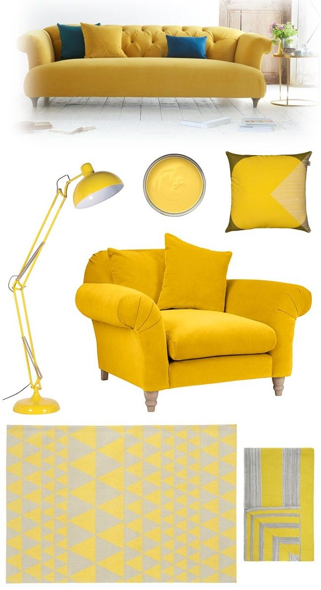 A beautifully sunny moodboard from Homegirl London who has included our Dixie sofa in her yellow homewares round-up. Read more here: http://homegirllondon.com/happy-yellow-living-room-ideas/