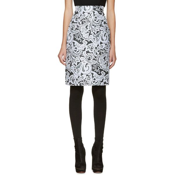 Mary Katrantzou Black and Blue Lace Pencil Skirt ($390) ❤ liked on Polyvore featuring skirts, halogen blue, knee length lace skirt, zipper pencil skirt, zipper skirt, lace pencil skirt and lace skirt