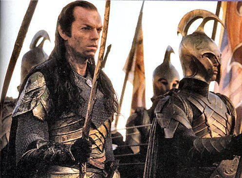 Elrond (Hugo Weaving) fights alongside men to combat Sauron's dark forces 3,000 years ago. (The Lord of the Rings)