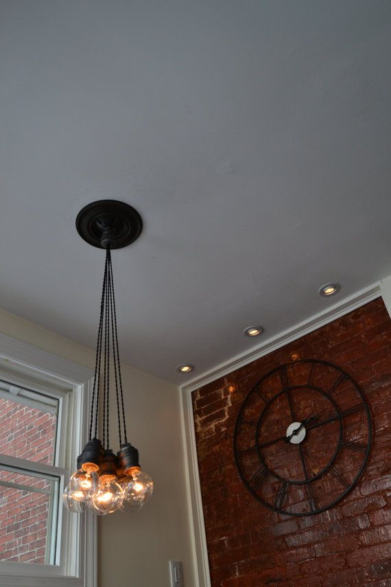 Vintage/Industrial Pendant light with twisted cord and 6 bulbs [ Edison Bulbs Included ]
