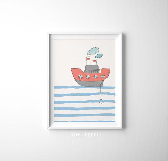 Boat print  Red and blue wall art  Baby boy nursery decor