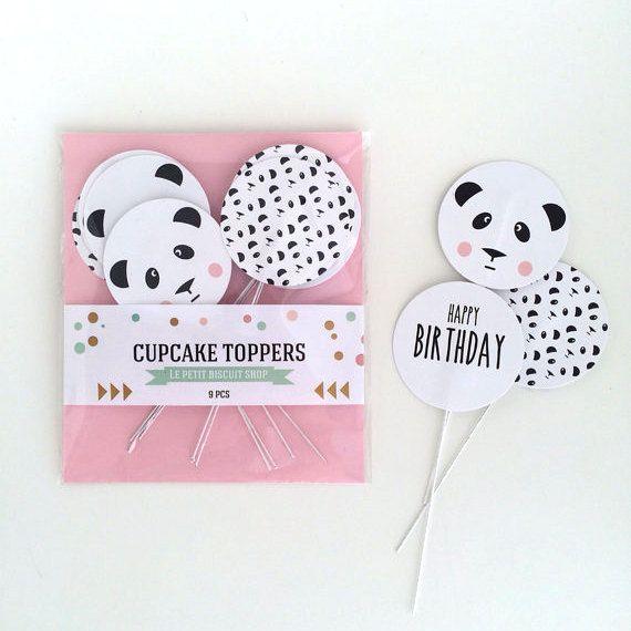 Cake Toppers panda 9 pcs van Lepetitbiscuitshop op Etsy, €6.50