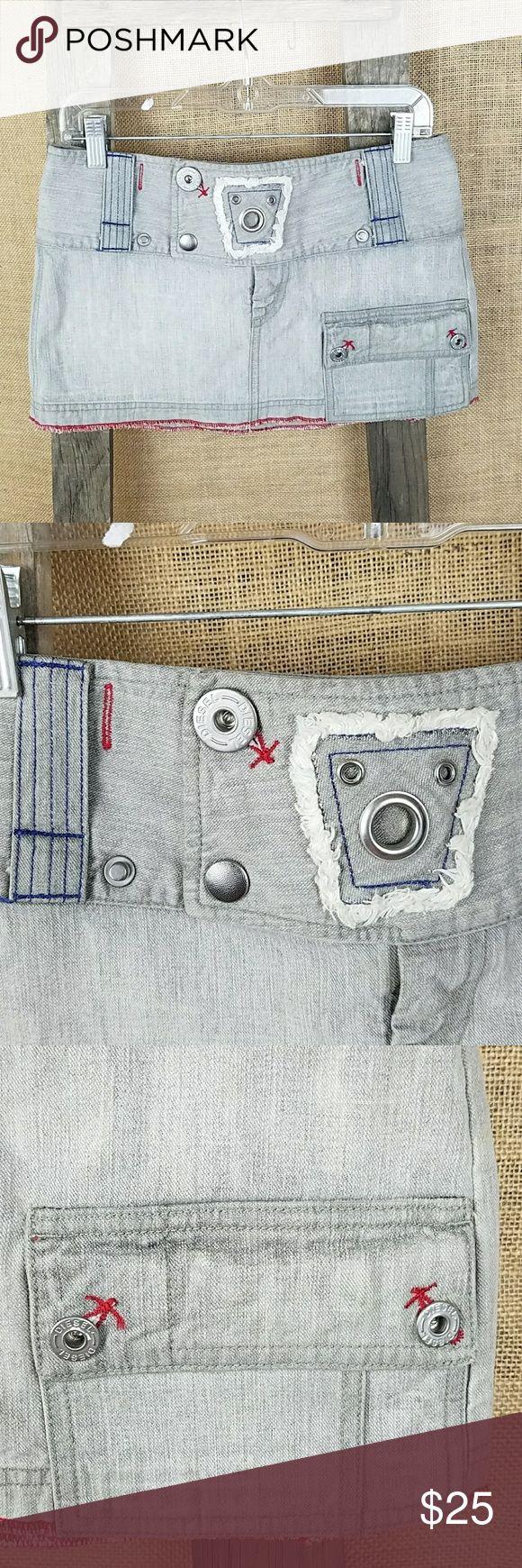 "Diesel women's 27 jeans denim mini skirt gray c Diesel women's 27 jeans denim mini skirt gray contrast stitching, 100% cotton.  Waist side to side: 15.5"" Length: 11"" Diesel Skirts Mini"