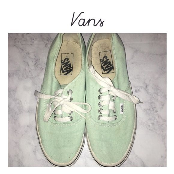 Mint Green & White Vans Great condition, size 8.5 in women's color is mint and white.  📬 Shipping details: (Eastern Time) 📬 SAME day MON-FRI if purchased BEFORE 3:30 PM NEXT day if purchased AFTER 4 pm SAME day on SAT if purchased BEFORE 10:30 AM •ALL PACKAGES PURCHASED AFTER 10:30 AM ON SATURDAY WILL NOT BE SHIPPED UNTIL AFTER 8:30AM ON MONDAY MORNING Vans Shoes