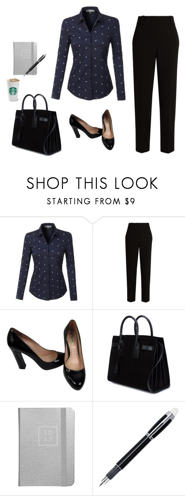 """Business look"" by monika1555 on Polyvore featuring LE3NO, The Row, Miu Miu, Yves Saint Laurent and Montblanc"